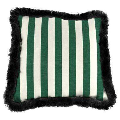 Sunbrella Mason Forest Green Square Outdoor Throw Pillow with Black Fringe