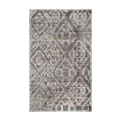 Darcie Grey and Cream Distressed Printed 9 ft. x 12 ft. Indoor Area Rug