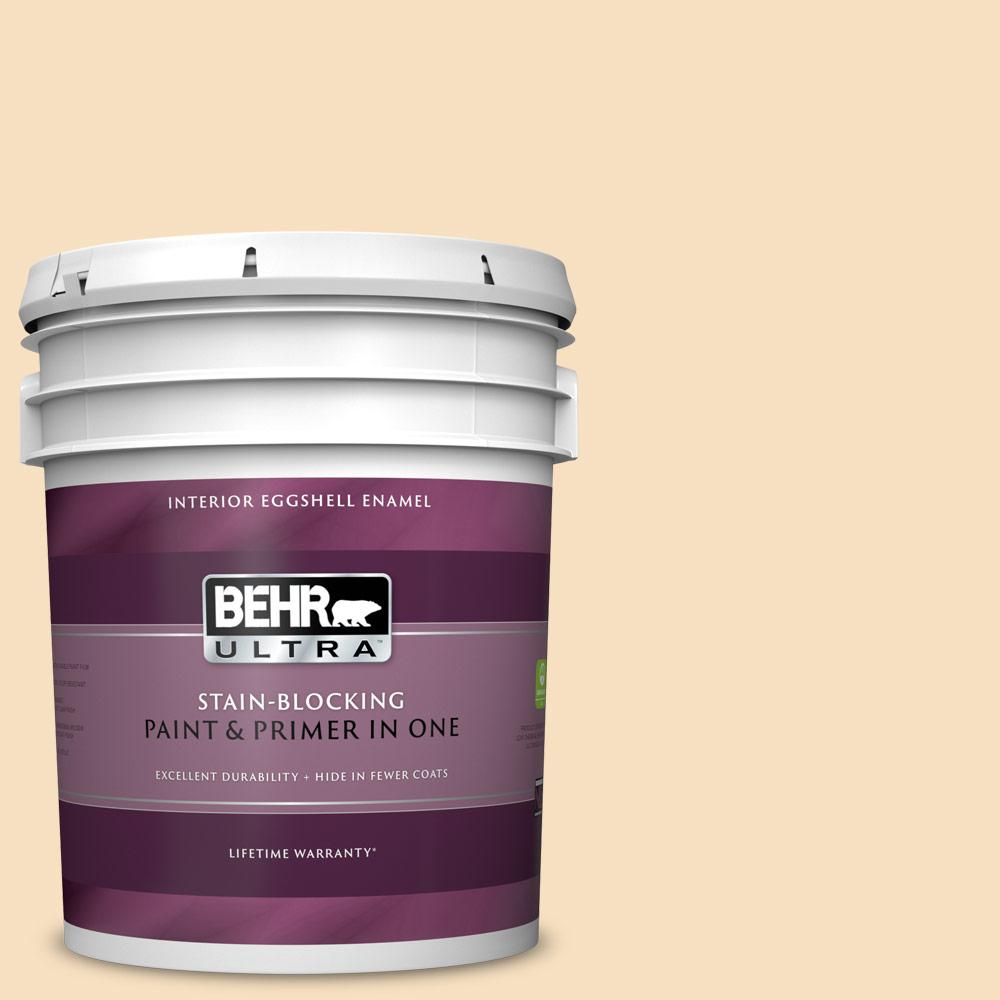 Behr Ultra 5 Gal Ppl 41 Tea Cookie Eggshell Enamel Interior Paint And Primer In One 275005 The Home Depot