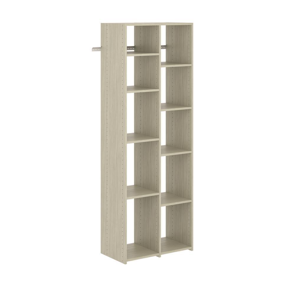 26 in. W Rustic Grey Adjustable Shoe Wood Closet Tower