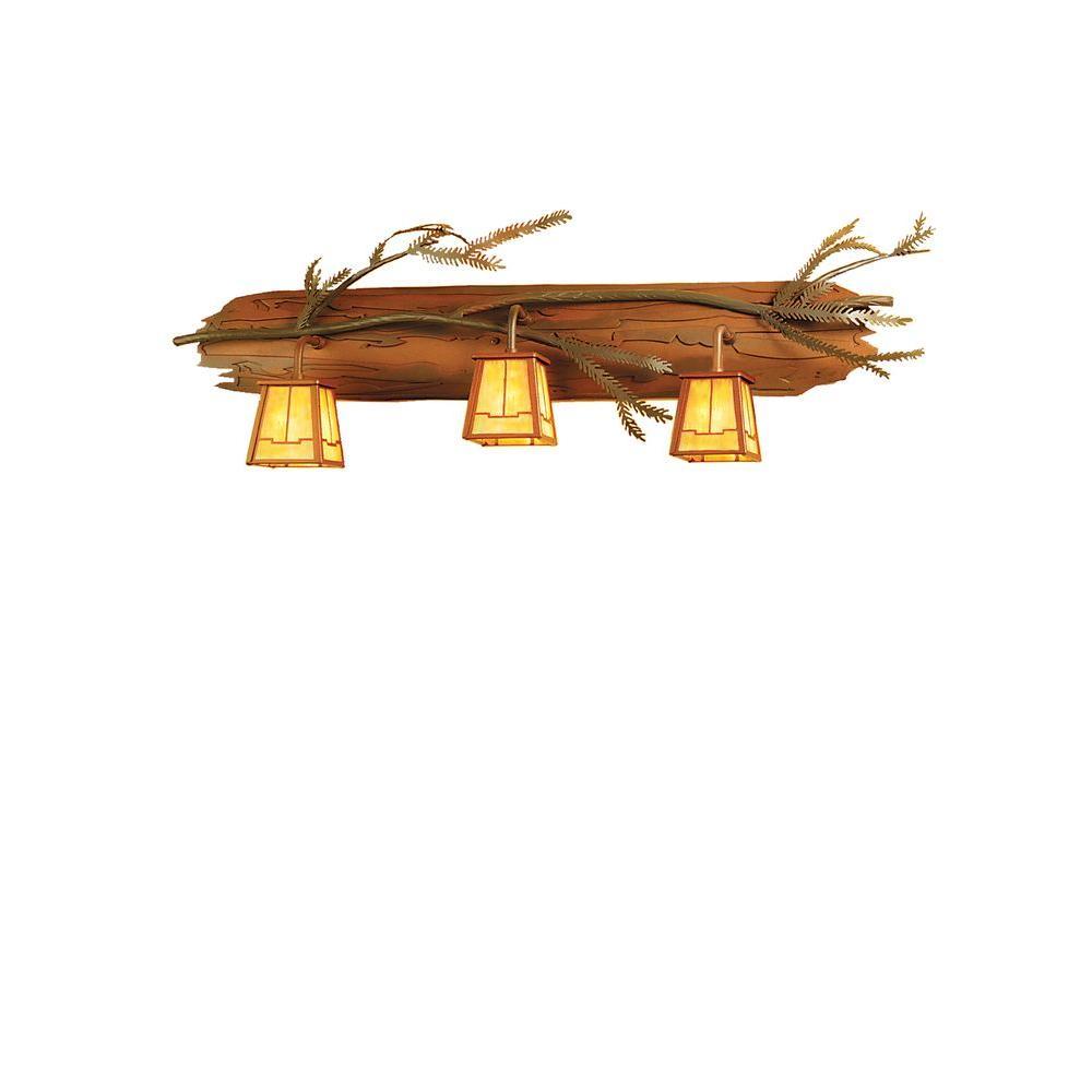 Illumine 3 Light Pine Branch Vanity Rust Finish