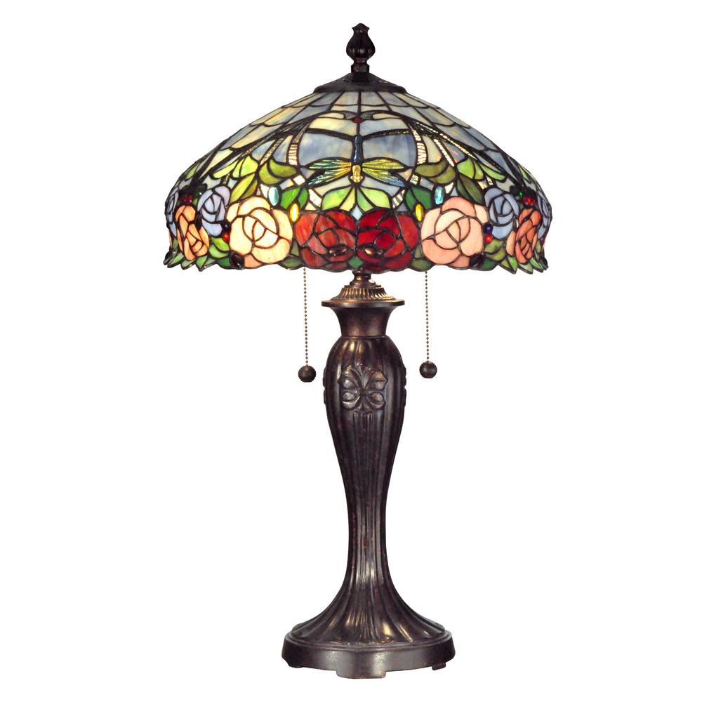 Dale Tiffany 27 In Fieldstone Zenia Table Lamp With Tiffany Art Glass Shade Tt12232 The Home Depot