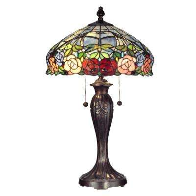 27 in. Fieldstone Zenia Table Lamp with Tiffany Art Glass Shade