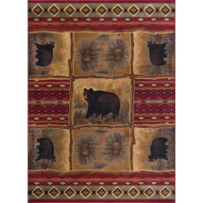 Nature Red 8 ft. x 10 ft. Lodge Area Rug