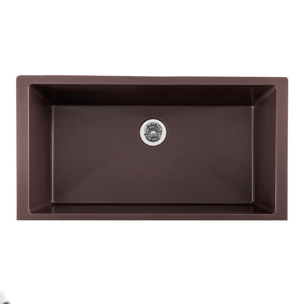 elkay quartz luxe perfect drain undermount composite 36 in  single bowl kitchen sink in chestnut elkay quartz luxe perfect drain undermount composite 36 in  single      rh   homedepot com