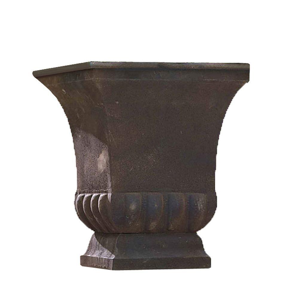 15 in. Metal Rustic Urn-Discontinued