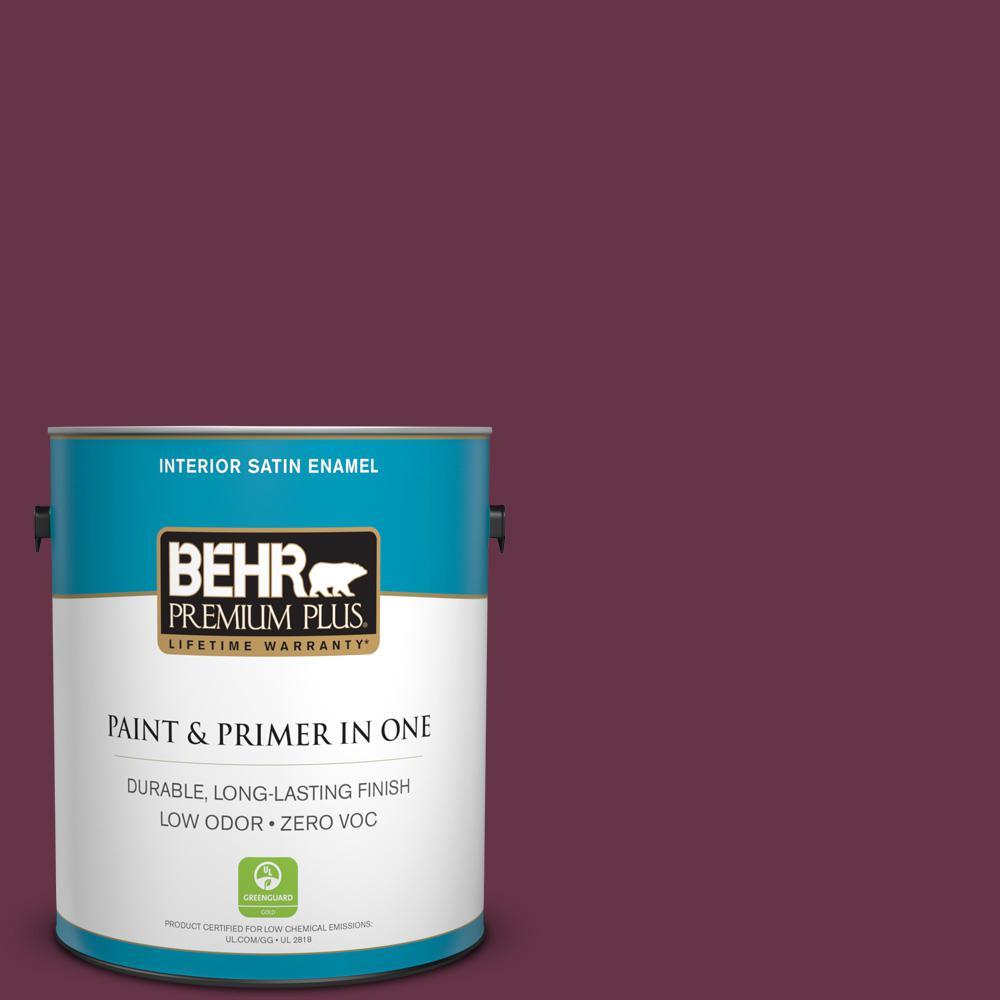 BEHR Premium Plus 1-gal. #110D-7 Vin Rouge Zero VOC Satin Enamel Interior Paint