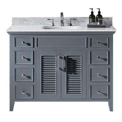 Elise 48 in. W x 22 in. D x 34.21 in. H Bath Vanity in Cashmere Grey with Marble Vanity Top in White with White Basin