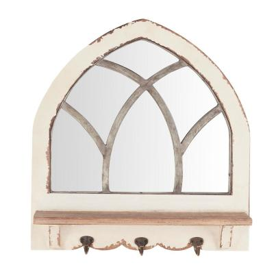 18 in. H x 19 in. W Home Decorators Collection Arched Windowpane Framed Antiqued White Wood Mirror with 3 Hooks