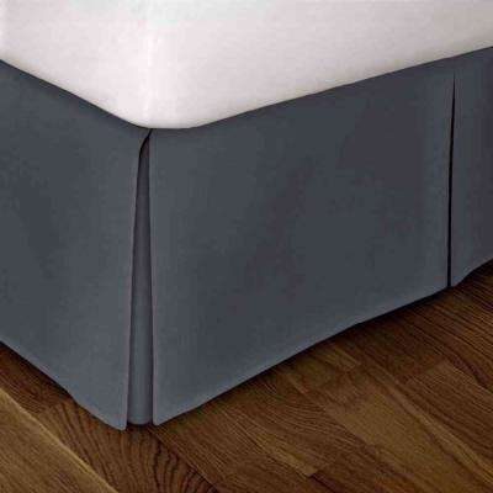 Steel Blue Solid Pattern Queen Bed Skirt