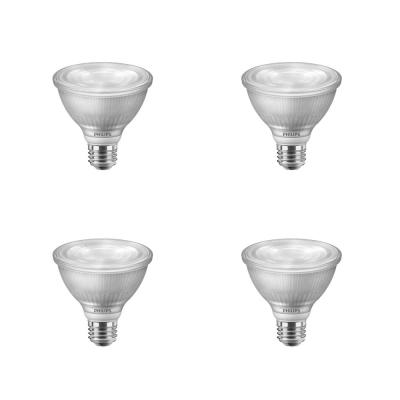 75-Watt Equivalent PAR30S Dimmable LED Flood Light Bulb with Warm Glow Dimming Effect Bright White (3000K) (4-Pack)