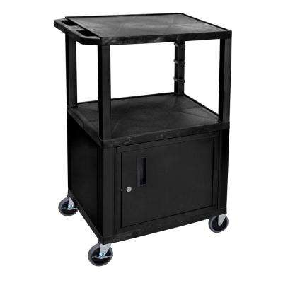 24 in. x 18 in., A/V Utility Cart with 3-Shelves and Cabinet in Black