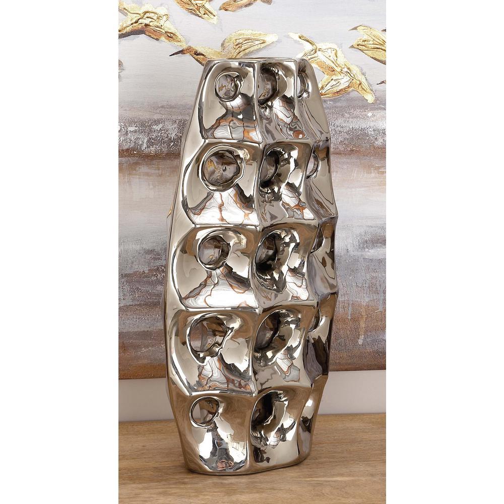 19 in. Ceramic Geometric-Molded Decorative Vase in Silver