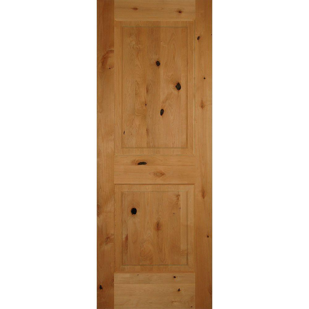 30 in. x 80 in. 2-Panel Square Top Solid Core Knotty