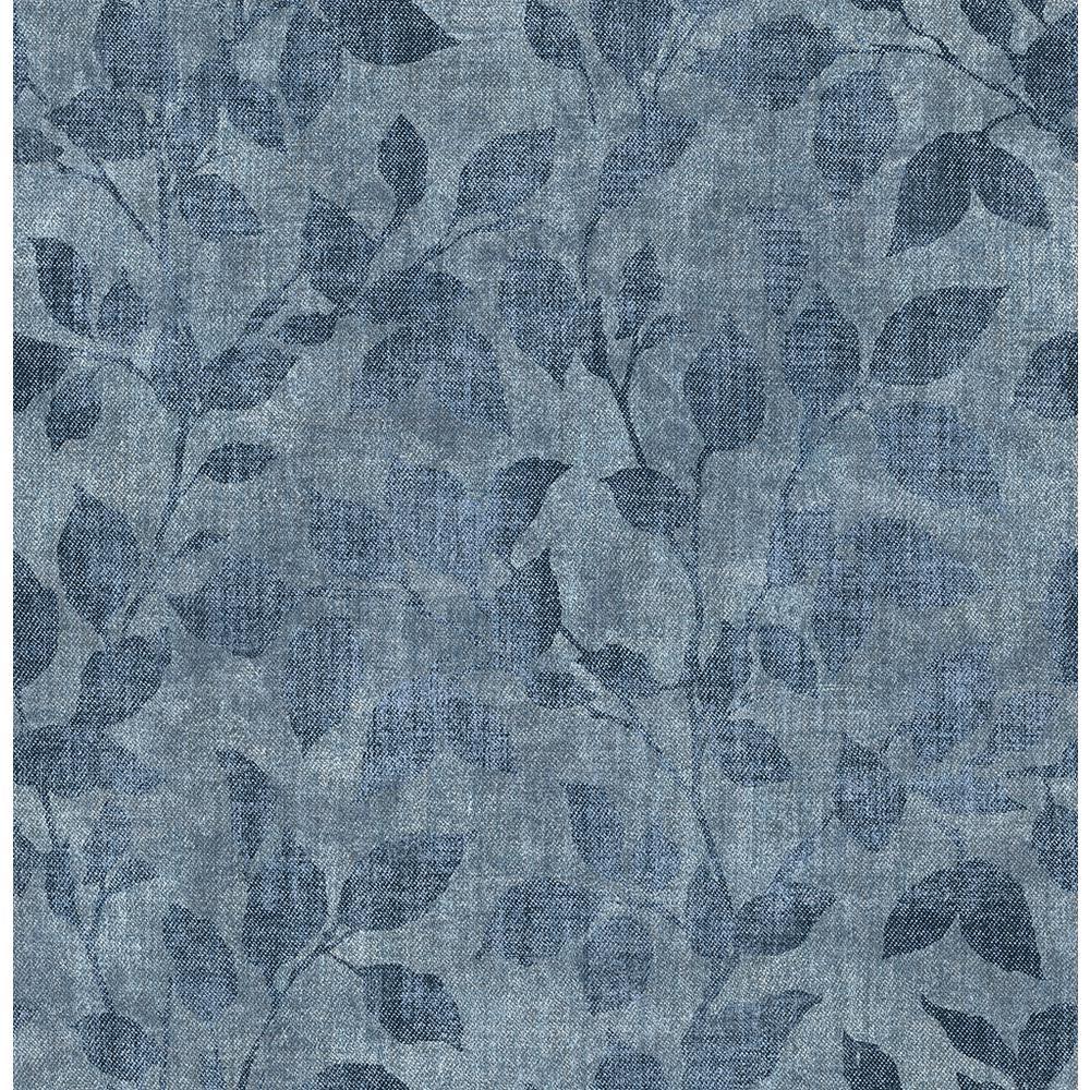 Gramercy Park Blue Leaf Wallpaper Sample