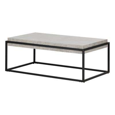 Mezzy Concrete Gray and Black Coffee and End Table