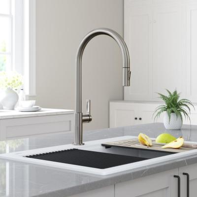 Oletto High-Arc Single-Handle Pull-Down Sprayer Kitchen Faucet in Spot Free Stainless Steel