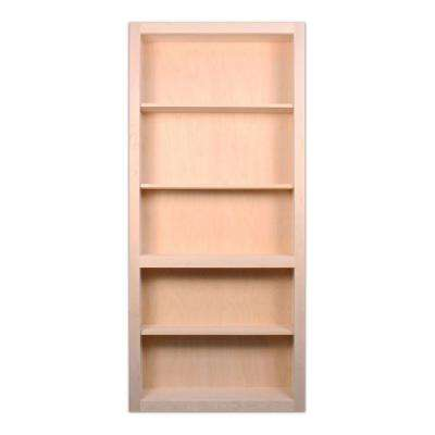 36 in. x 80 in. Flush Mount Assembled Maple Unfinished Wood 4-Shelf Interior Bookcase Door