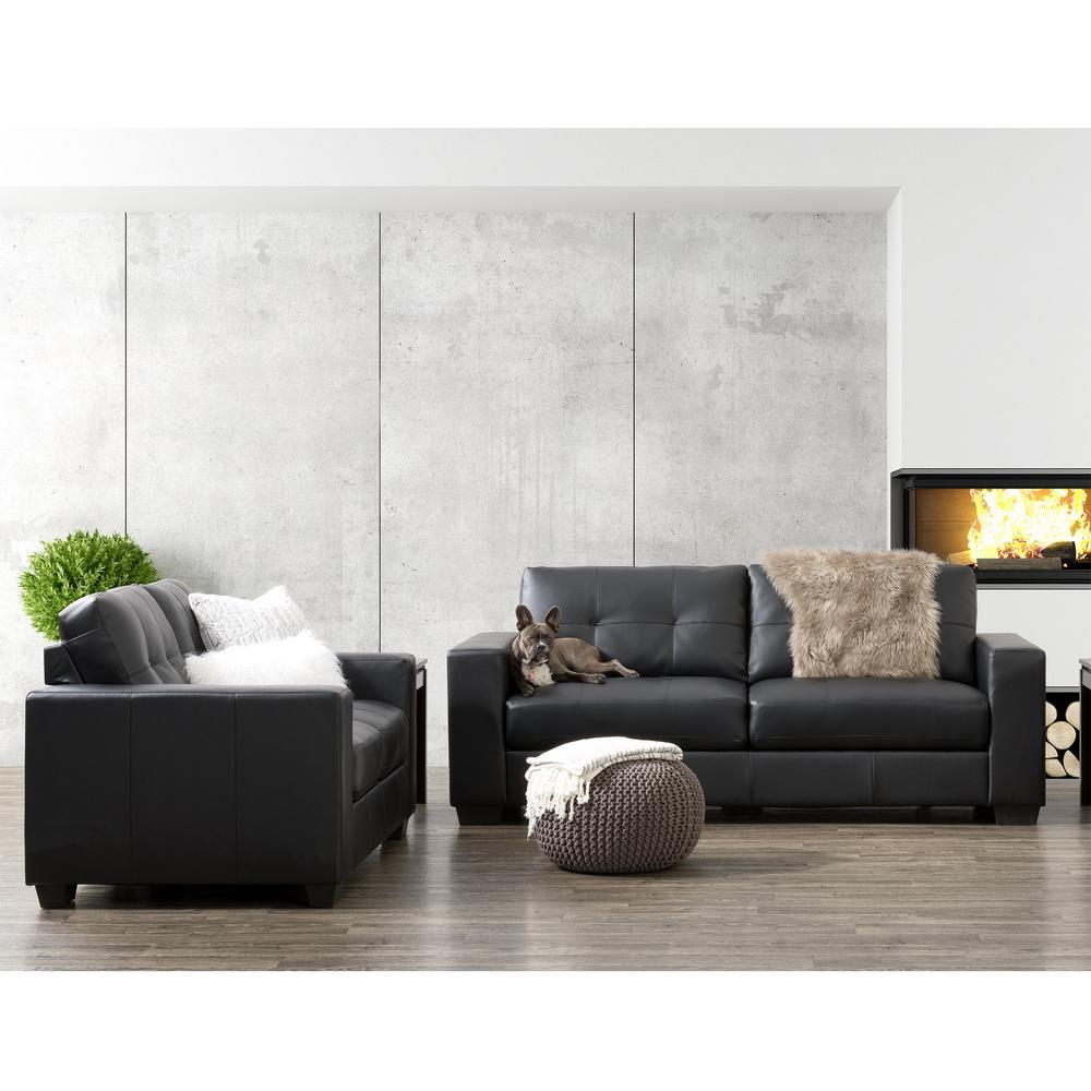 Enjoyable Corliving Club 2 Piece Tufted Black Bonded Leather Sofa Set Customarchery Wood Chair Design Ideas Customarcherynet