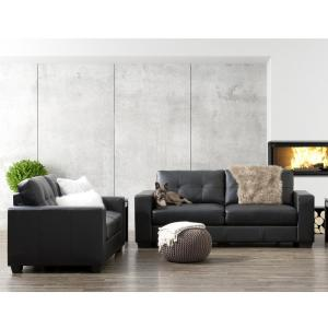 CorLiving Club 2-Piece Tufted Black Bonded Leather Sofa Set ...