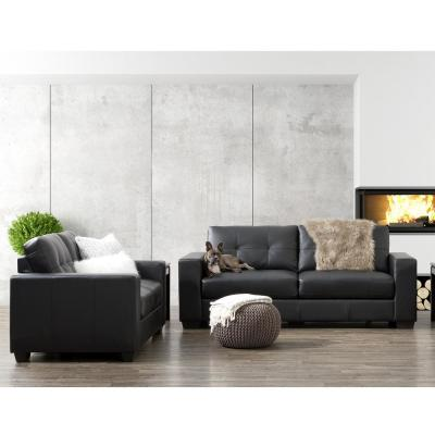 Club 2-Piece Tufted Black Bonded Leather Sofa Set