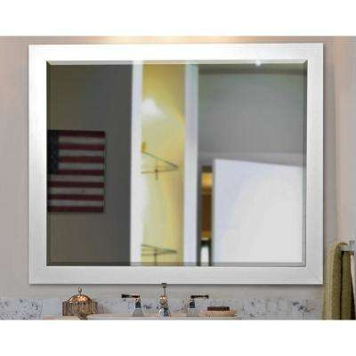 21.5 in. x 25.5 in. White Satin Rounded Beveled Wall Mirror