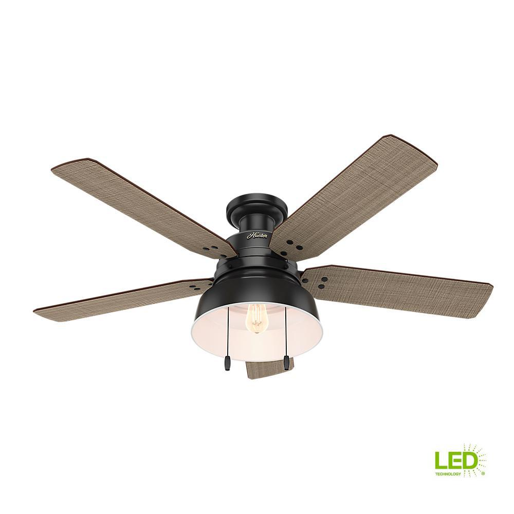 Hunter Mill Valley 52 in. LED Indoor/Outdoor Low Profile Matte Black Ceiling Fan with Light