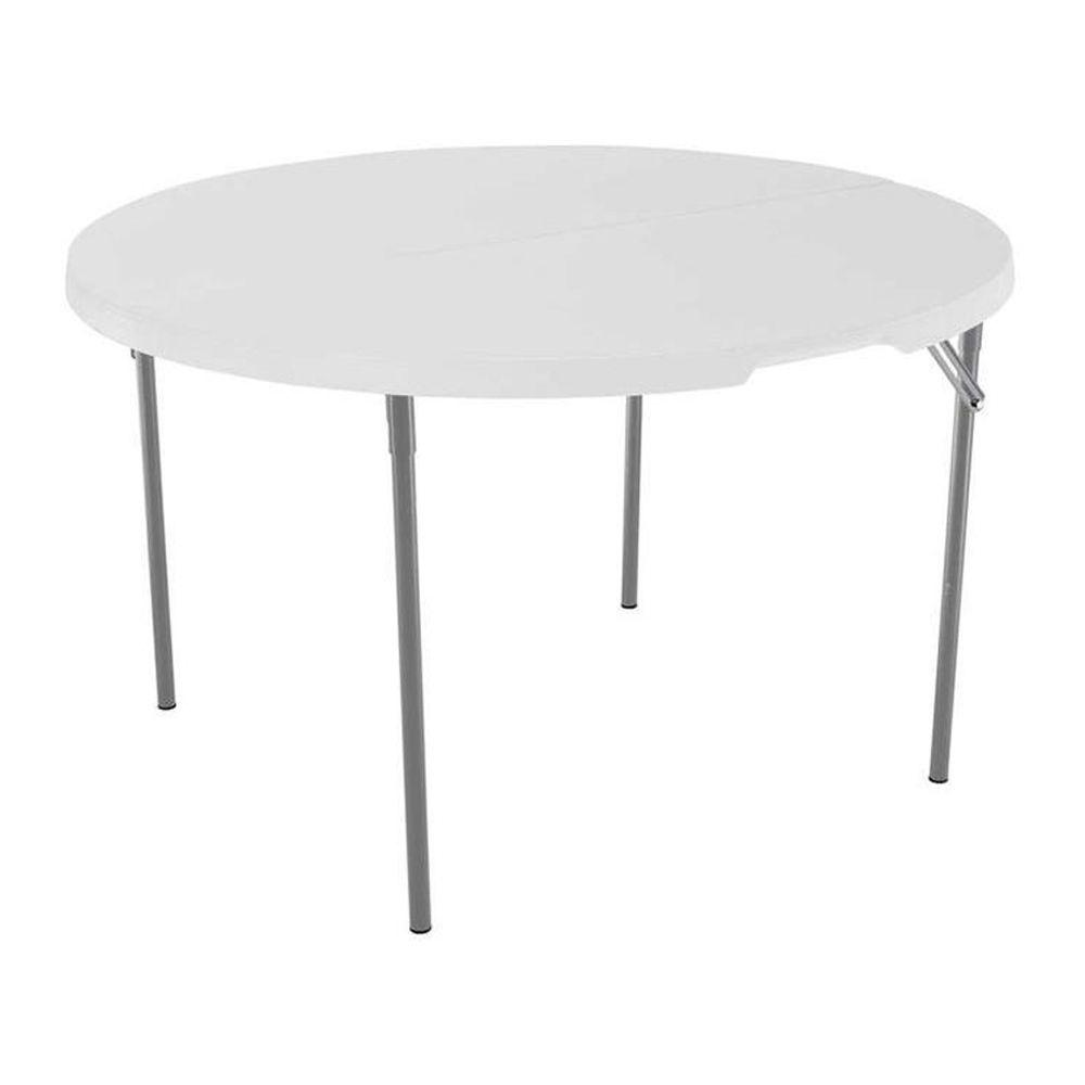 Merveilleux White Granite Round Fold In Half Table