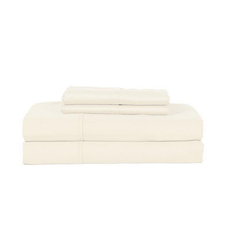 Perthshire 4 Piece Ivory Solid 350 Thread Count Cotton Queen Sheet Set T350q Pl Ivr The Home Depot