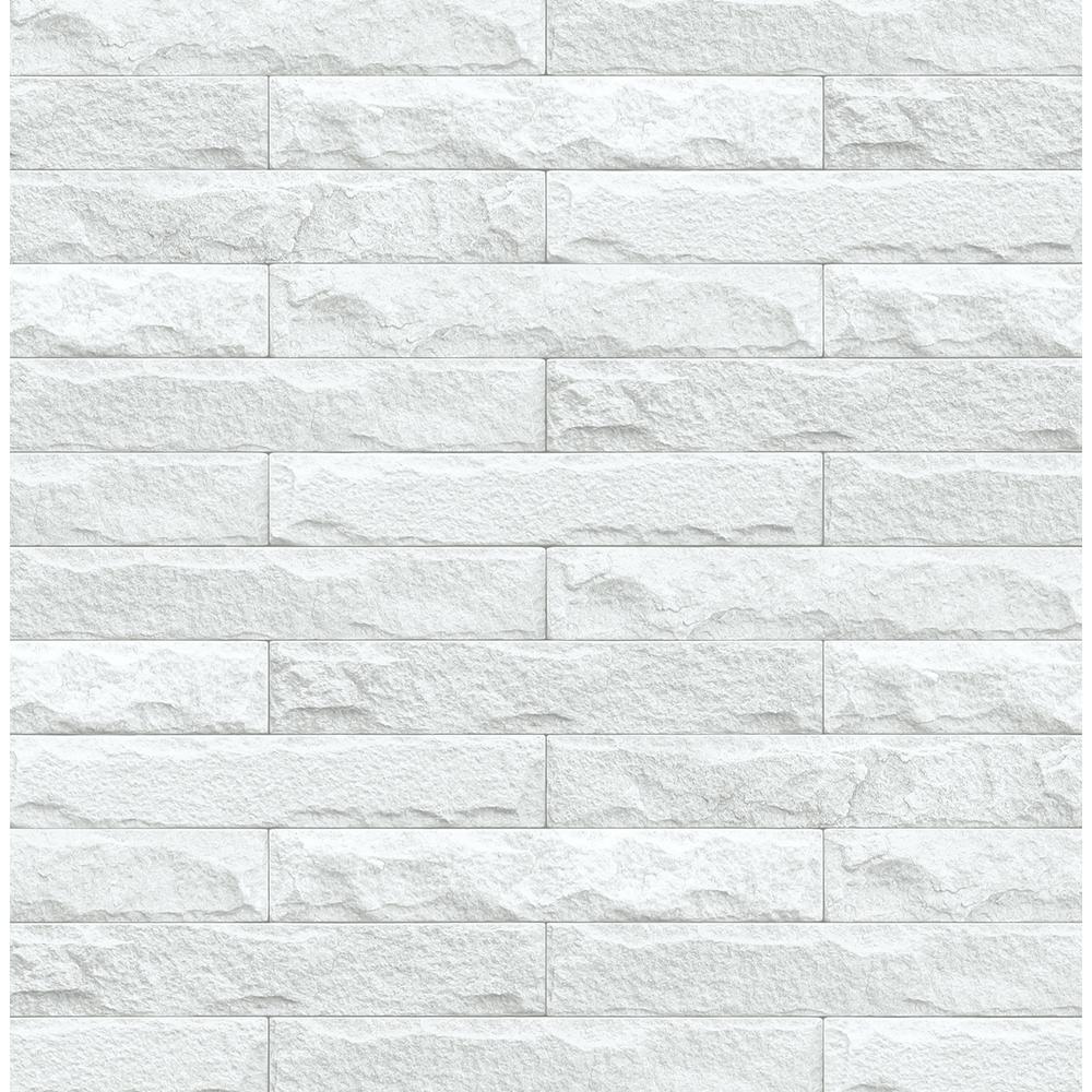 Off-White Limestone Brick Peel and Stick Wallpaper 30.75 sq. ft.