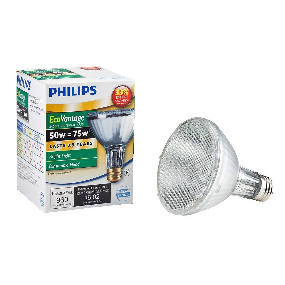 Philips 75W Equivalent Halogen PAR30L Indoor/Outdoor Dimmable Flood Light Bulb (6-Pack)