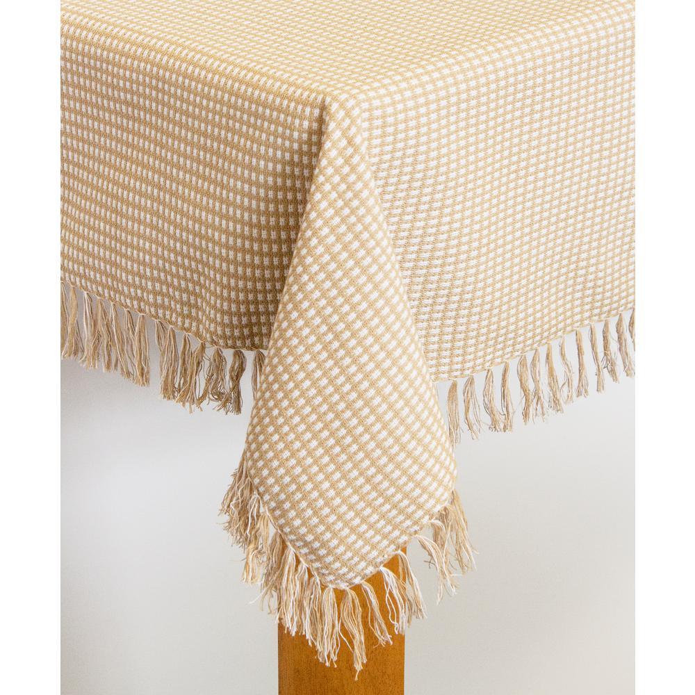 Homespun Fringed 60 in. x 120 in. Ecru 100% Cotton Tablecloth