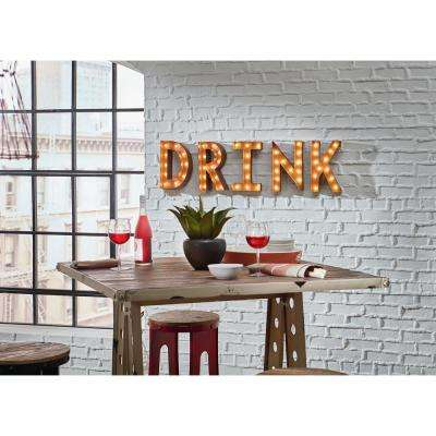 70 in. W x 12 in. H Small Rusted DRINK Letters Plug-In Marquee Lights