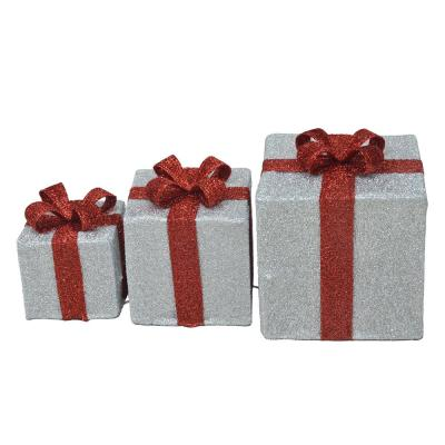 8 in., 10 in., 12 in. Candy Cane Lane 3D Silver Presents Yard Décor, Foldable