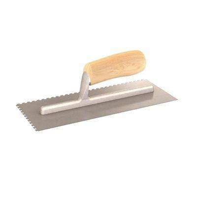 11 in. x 4-1/2 in. Square-Notched Margin Trowel with Notch Size 1/2 in. x 1/2 in. x 1/2 in. with Wood Handle