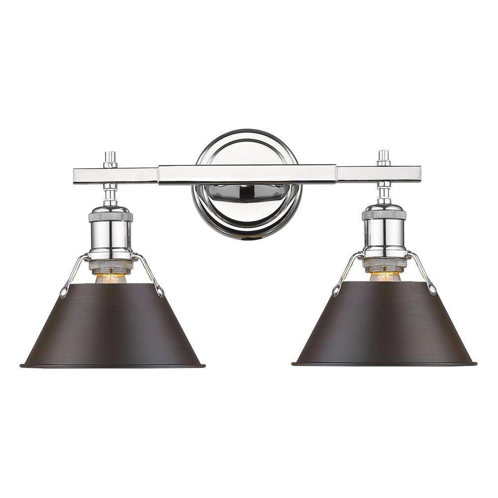 Orwell 2-Light Chrome with Rubbed Bronze Shade Bath Vanity Light