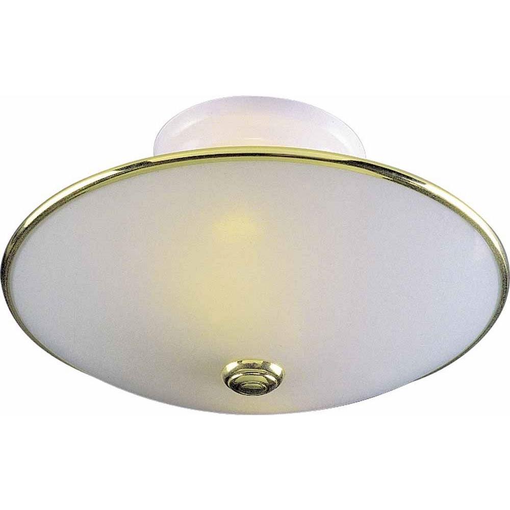 2-Light Polished Brass and White Semi-Flush Mount
