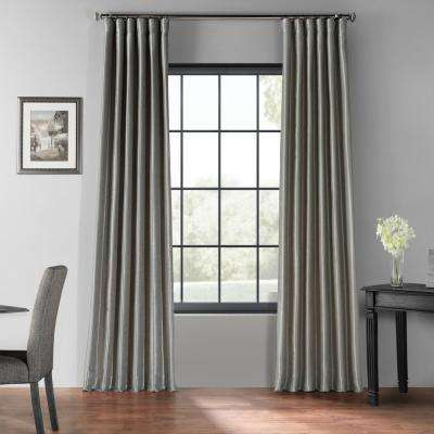 Silver Blackout Vintage Textured Faux Dupioni Curtain - 50 in. W x 96 in. L