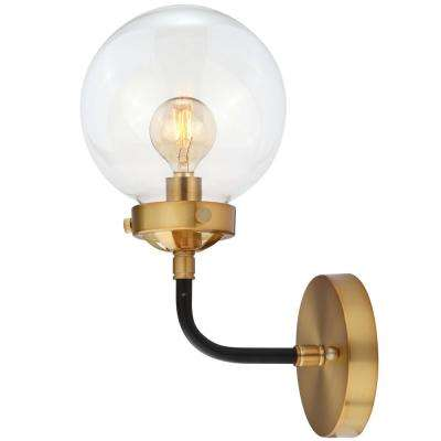 Caleb 1-Light 8 in. Black/Brass Wall Sconce