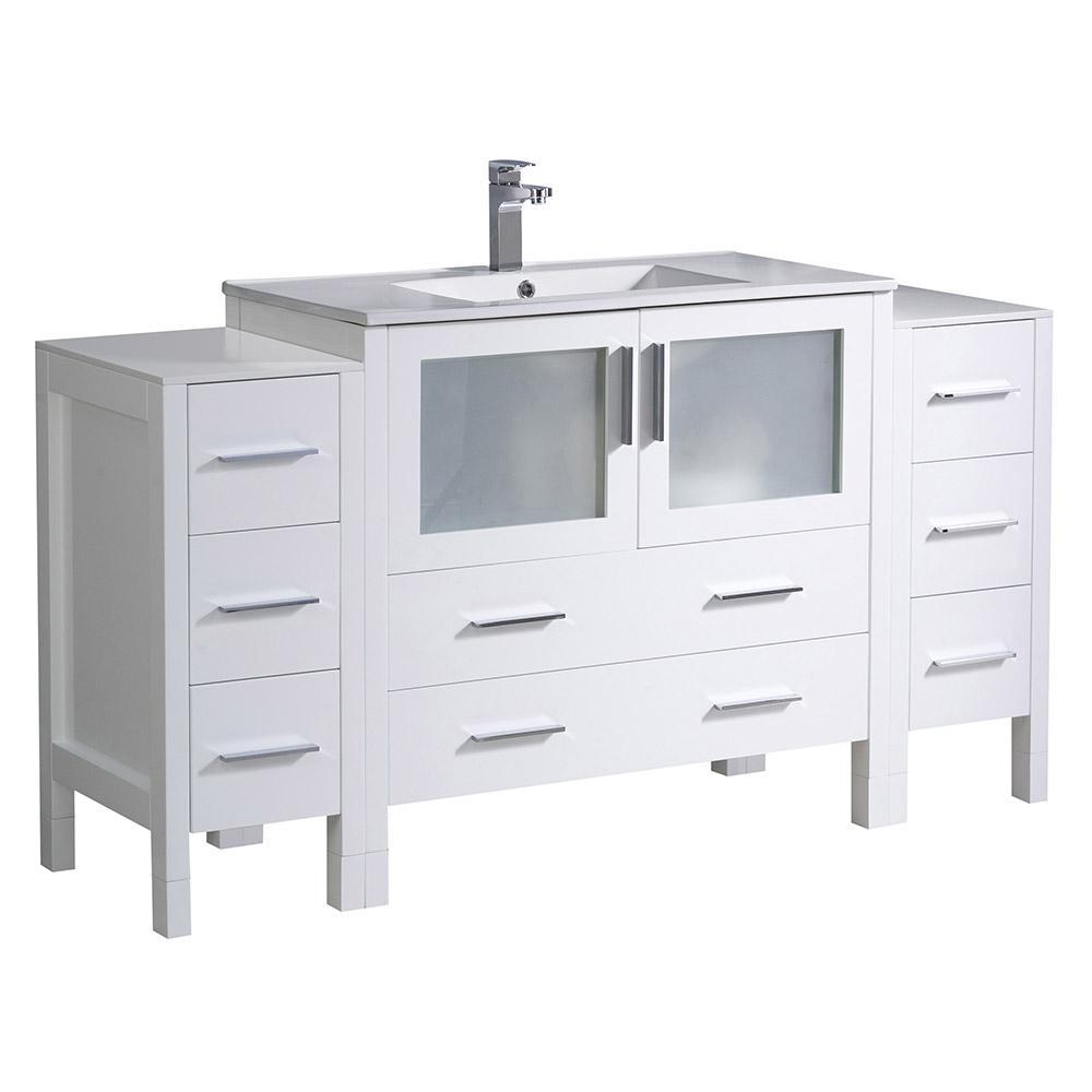 Torino 60 in. Bath Vanity in White with Ceramic Vanity Top in White with White Basin