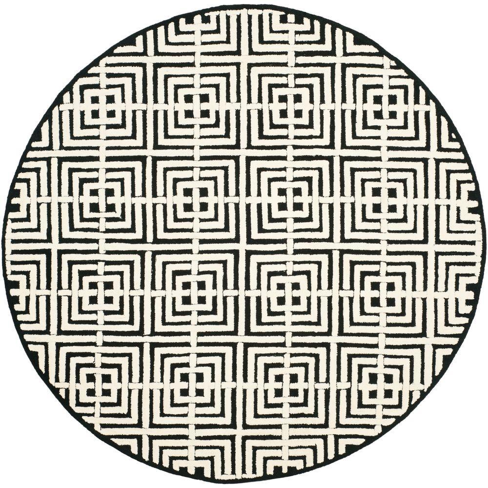 Safavieh Newport Black/White 6 ft. x 6 ft. Round Area Rug