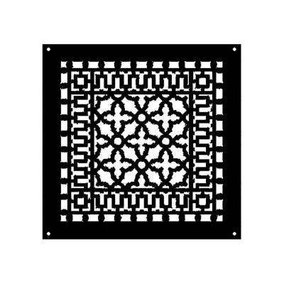 Scroll Series 14 in. x 14 in. Cast Iron Grille, Black with Mounting Holes