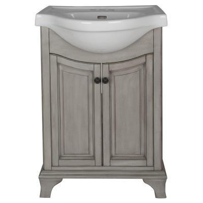 Corsicana 25 in. W x 19 in. D Vanity in Antique Grey with Vitreous China Vanity Top in White with White Basin