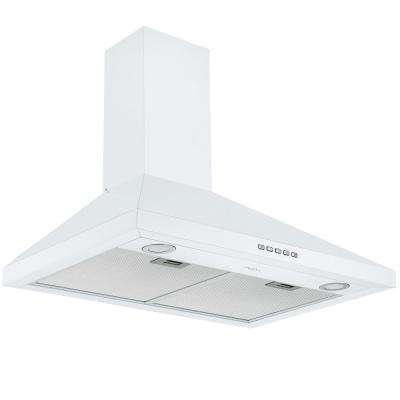 30 in. 450 CFM Convertible Wall-Mounted Pyramid Range Hood in White