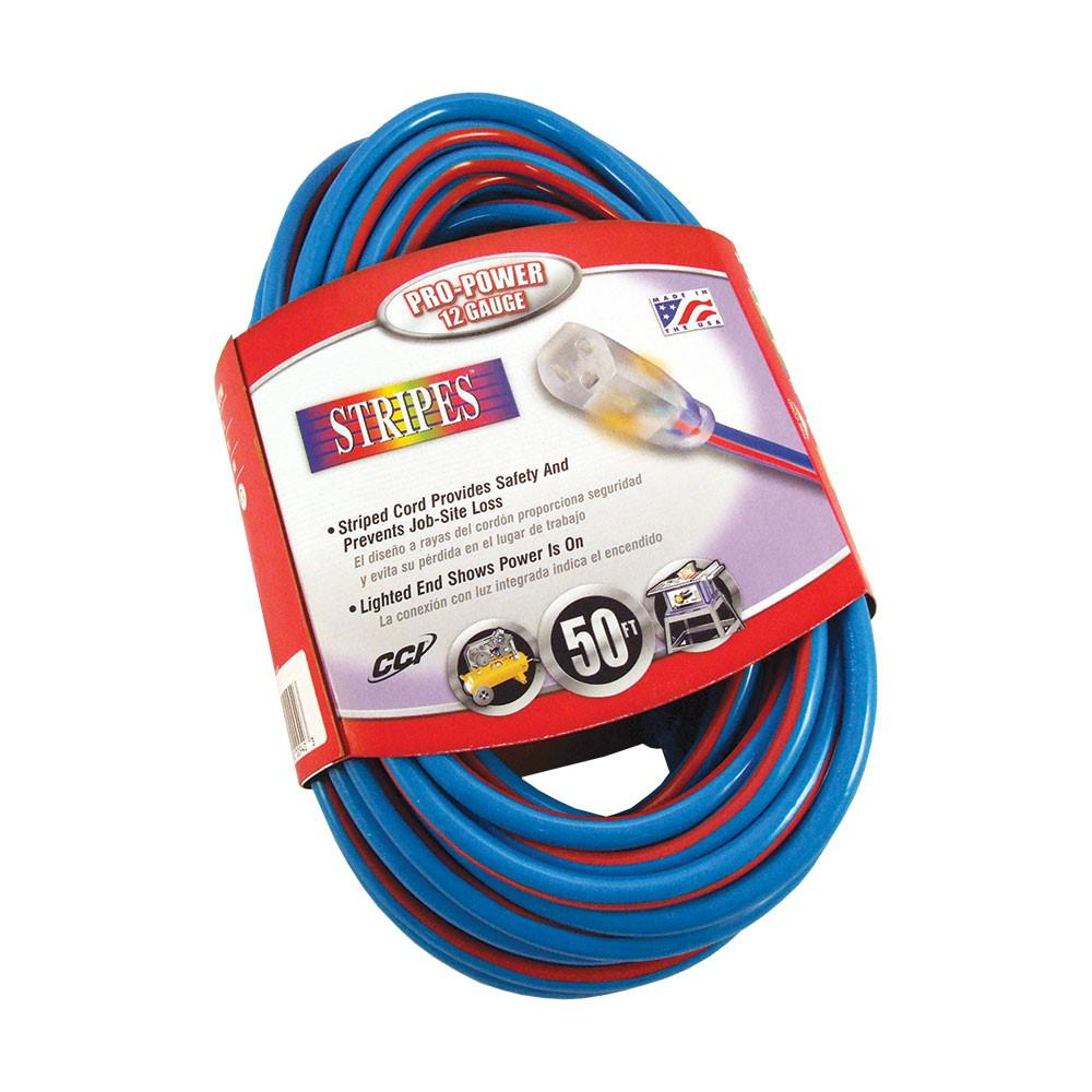50ft. 12/3 SJTW Outdoor Extension Cord with Power Light Ends