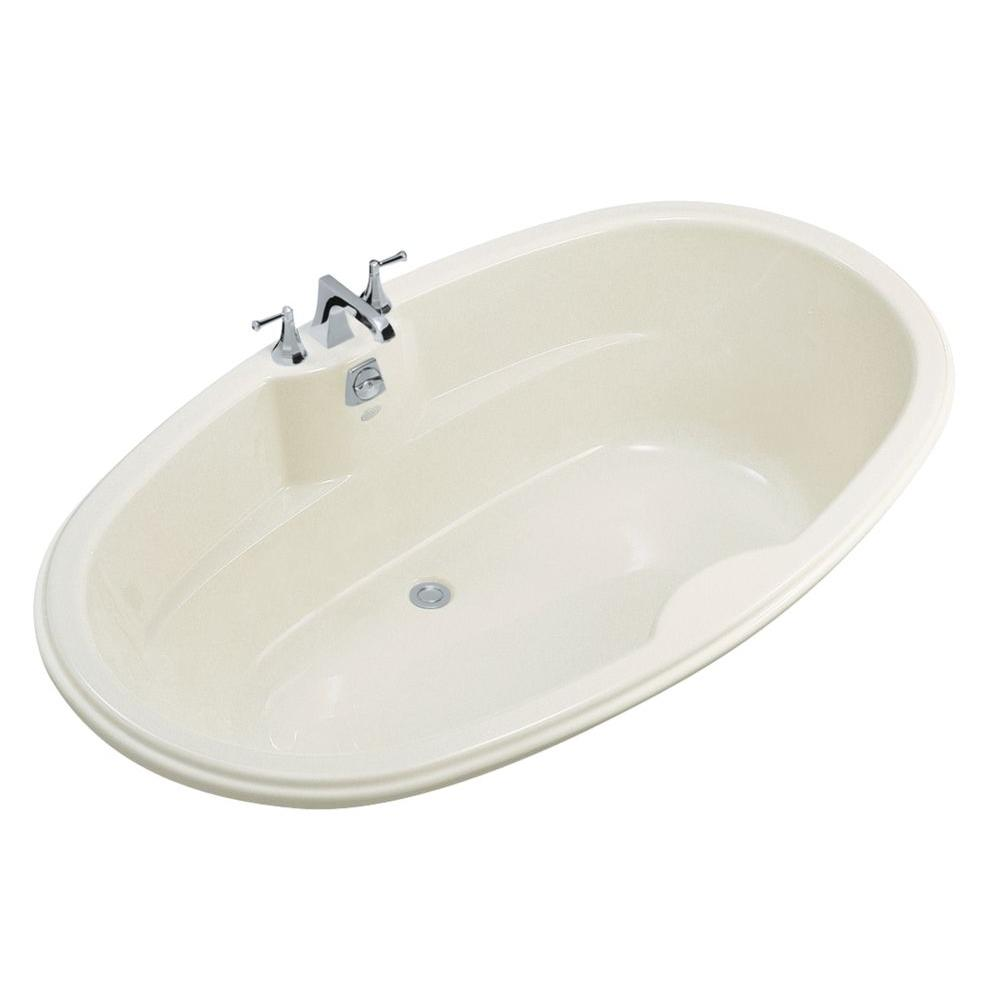 Kohler 6 ft center drain oval bathtub in white k 1149 0 for Oval garden tub