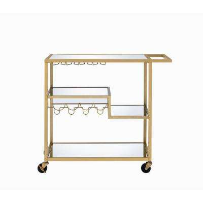 Adamsen Gold and Clear Glass Serving Cart