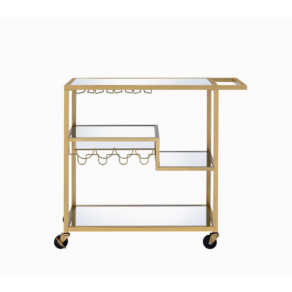 Adamsen Gold and Clear Glass Serving Cart