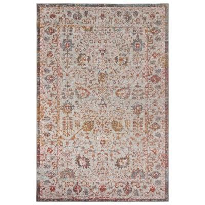 Antiquity Rust / Cream 2 ft. x 4 ft. Distressed Persian Bordered Indoor/Outdoor Area Rug