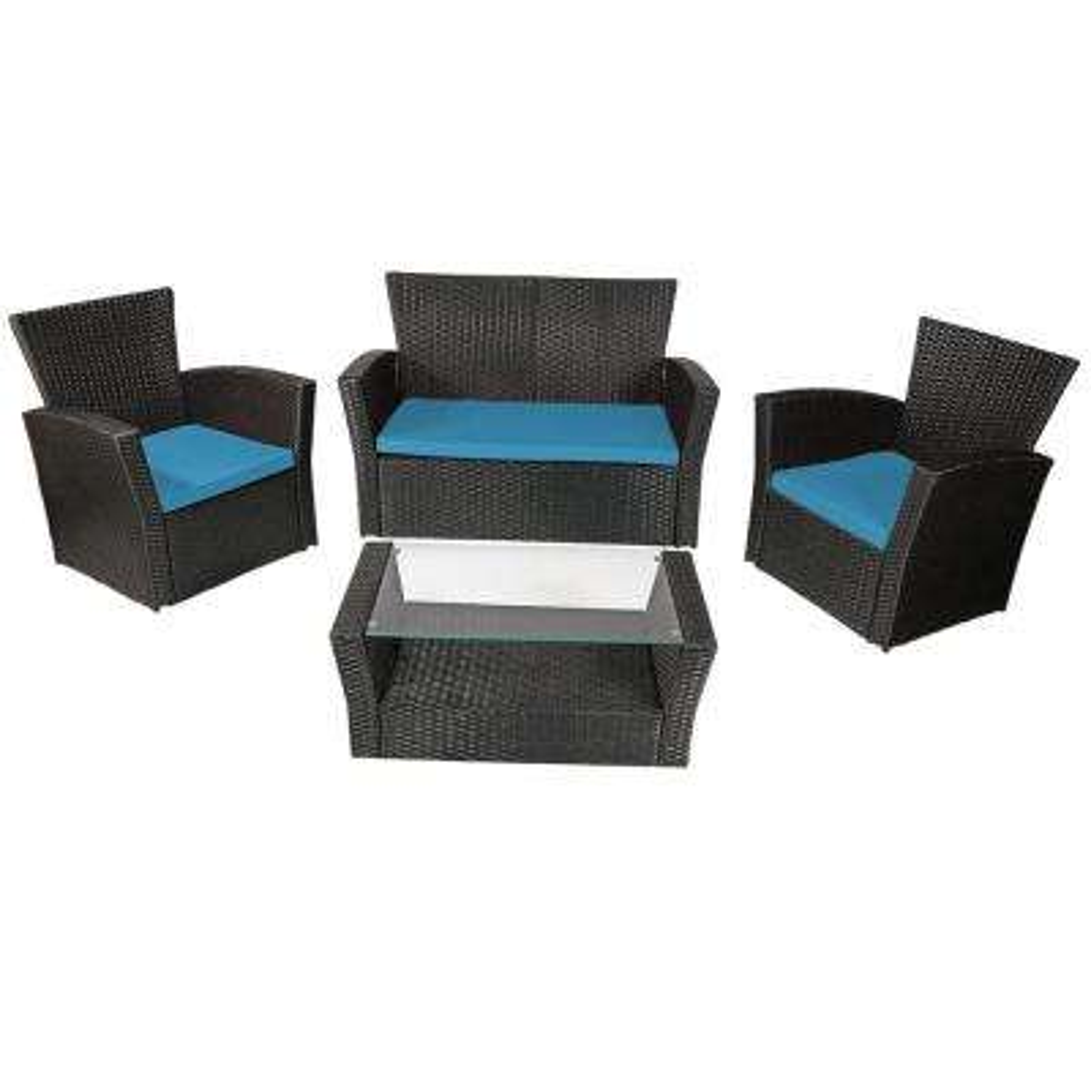 Brisbane 4-Piece Rattan Conversation Set with Blue Cushions